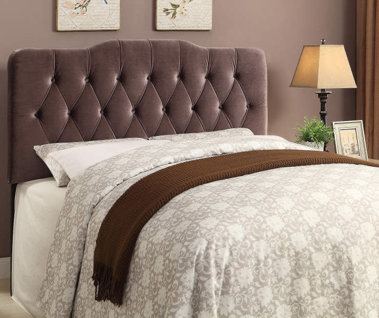 Velvet Slate Button Tufted King Headboard bedroom setting