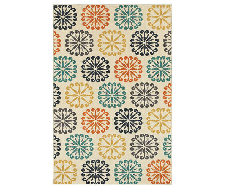 Vess Ivory Area Rug 3 Feet 3 Inches by 5 Feet Overhead View Silo Image