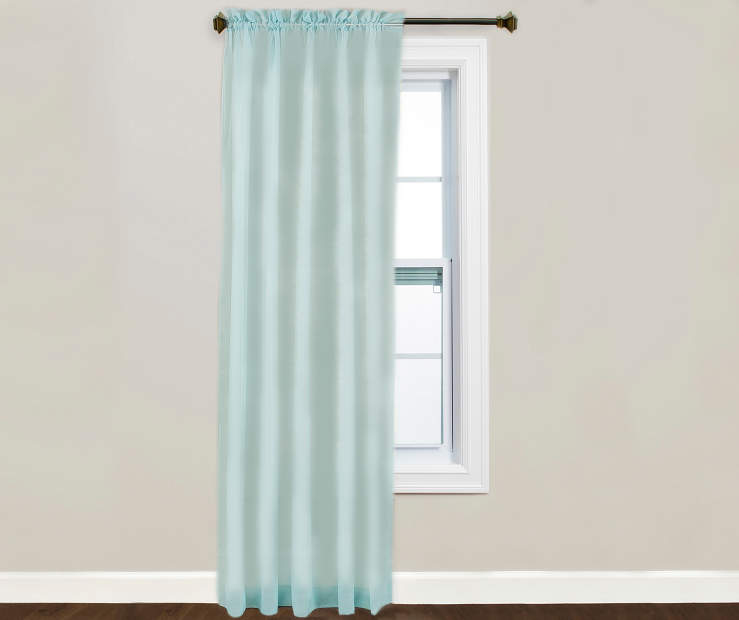Victoria Blue Sheer Curtain Panel 84 Inches on Window Lifestyle Image