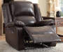 Vita Espresso Faux Leather Recliner Lifestyle Angled Left Footrest Open
