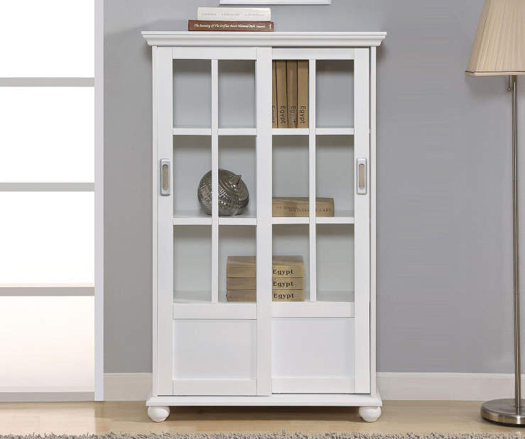 WHITE GLASS DOOR BOOKCASE lifestyle
