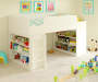 WHITE LOFT BED WITH BOOKCASES
