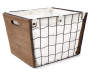 WIRE LARGE BIN W/WOOD PANELS/CANVAS LINERMEATAL SNAPS AND CUT OUT HANDEL
