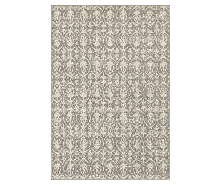 Walston Gray Area Rug 3 Feet 3 Inches by 5 Feet Overhead View Silo Image