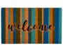 Welcome  Multi Color Stripe Coir Outdoor Doormat 18 inch x 30 inch silo front
