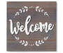Welcome Gray Wash Wood Plank Wall Plaque silo front