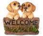 Welcome Sign with Dogs Garden Statuary Silo Front View