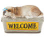 Welcome Sleeping Dog and Butterfly Garden Statuary Silo Front View