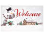 Welcome Snowman Barn Outdoor Doormat 18 x 30 Silo Image of Front