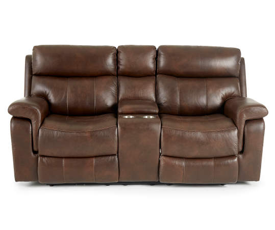 wellsley leather power reclining console loveseat