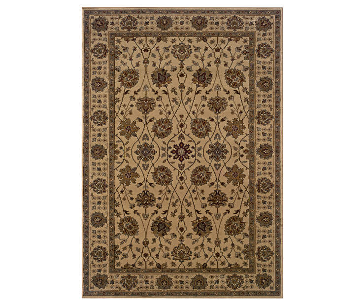 Welsh Beige Area Rug 5 Feet by 7 Feet 6 Inches Overhead View Silo Image