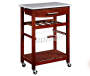 Wenge Brown Granite Top Kitchen Cart with Storage silo angled