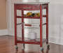 Wenge Brown Granite Top Kitchen Cart with Storage silo front
