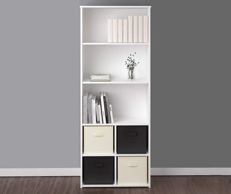 White 5-Shelf Decorated Room View