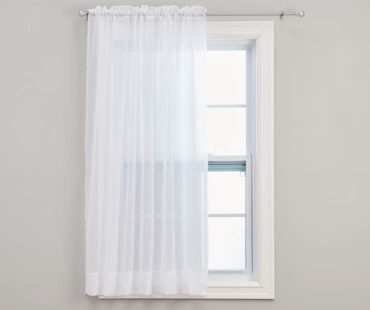 White Crushed Voile Sheer Curtain Panel 84 inches on Window
