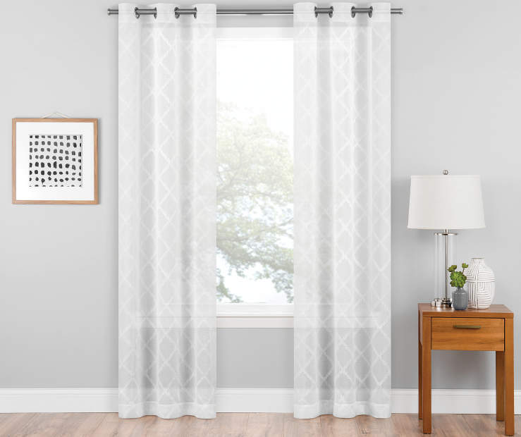 White Diamond Embroidery Curtain Panel Pair 84in lifestyle