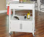 White Double Door Kitchen Cart with Granite Top lifestyle