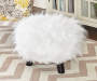 White Faux Fur Stool lifestyle