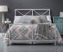 White High Gloss X Patterned Queen Metal Bed Frame bedroom setting