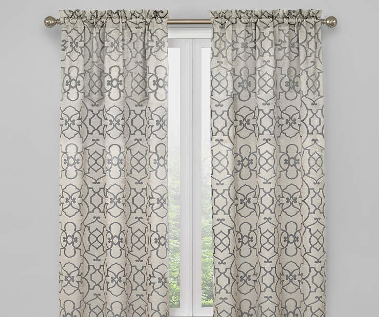 White Ivory and Pearl Gray Ironwork Blackout Curtain Panel Pair 63 Inches on Window Room Environment Lifestyle Image
