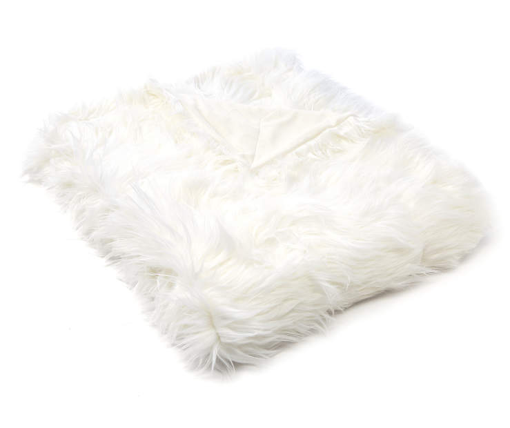 White Mongolian Faux Fur Luxe Throw silo front