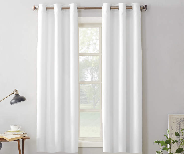 White Montego Grommet Curtain Panel 63 Inches On Window Room Environment Lifestyle Image