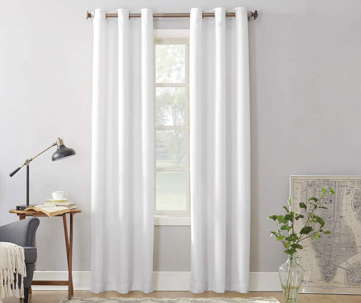 White Montego Grommet Curtain Panel 84 Inches On Window Room Environment Lifestyle Image
