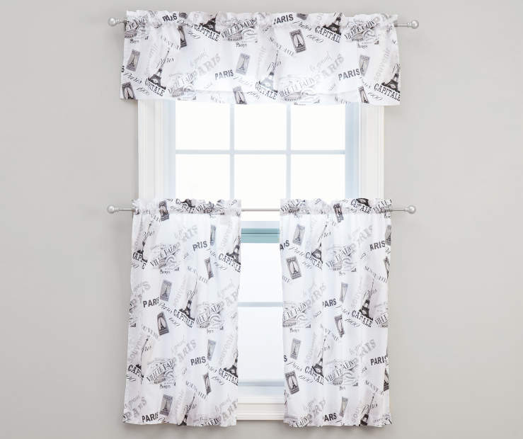 White Paris Tier Valance Set 54 Inches by 36 Inches on Window Room View