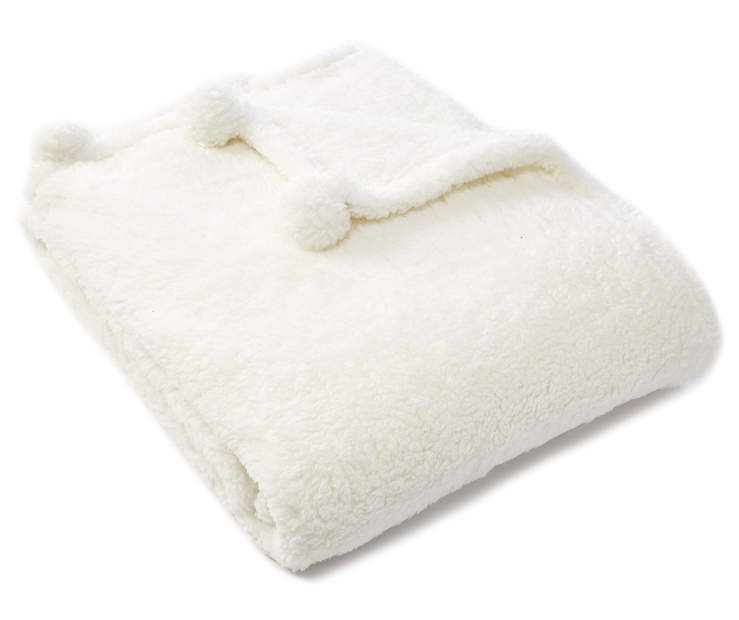 White Pom Pom Sherpa Throw silo angled