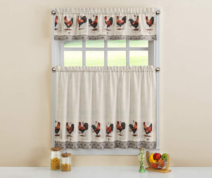 White Postcard Rooster Tier Curtain Set Room View