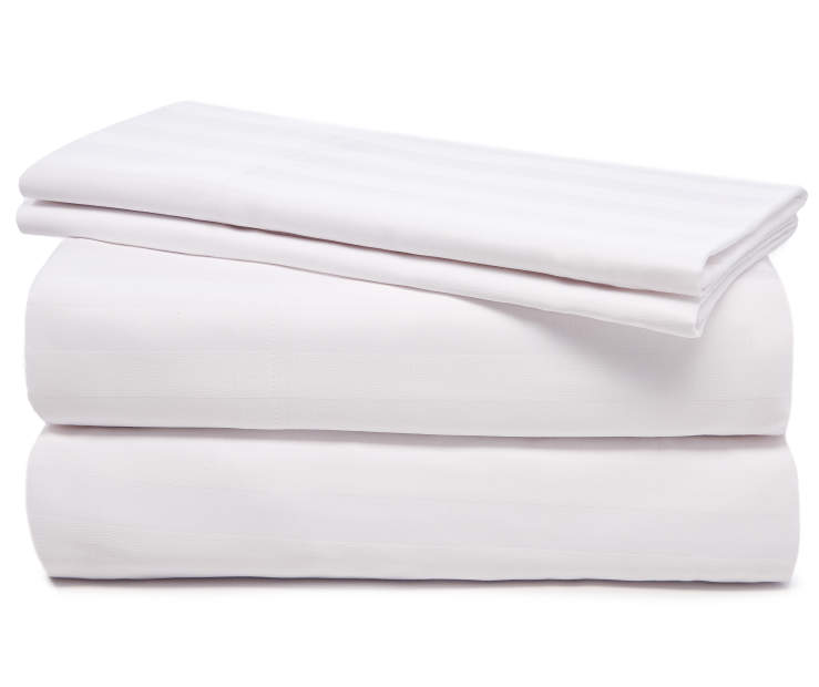 White Striped Queen 320 Thread Count 4 Piece Sheet Set silo front