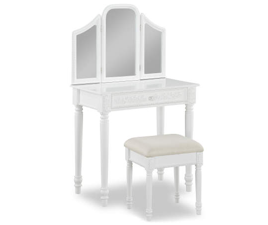 Just Home White Vanity Set With Trifold Mirror Big Lots