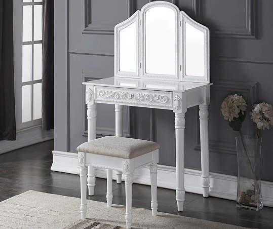 White Vanity Set With Tri Fold Mirror Big Lots