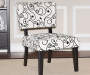 White and Black Scroll Accent Side Chair lifestyle