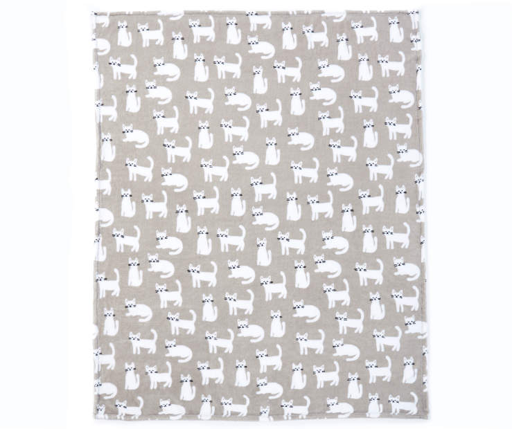 White and Gray Cats Soft Throw  silo front