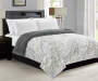 White and Gray Faux Fur Full Queen Reversible Comforter lifestyle