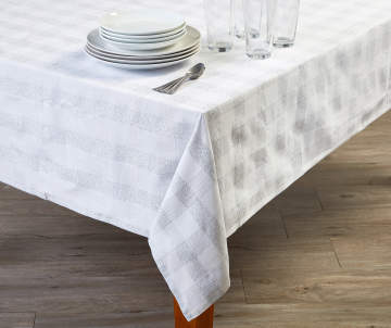 77a46195aff4 White   Silver Plaid Woven Lurex Fabric Tablecloth