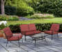Willowbrook Red 4 Piece Cushion Seating and Table Set lifestyle