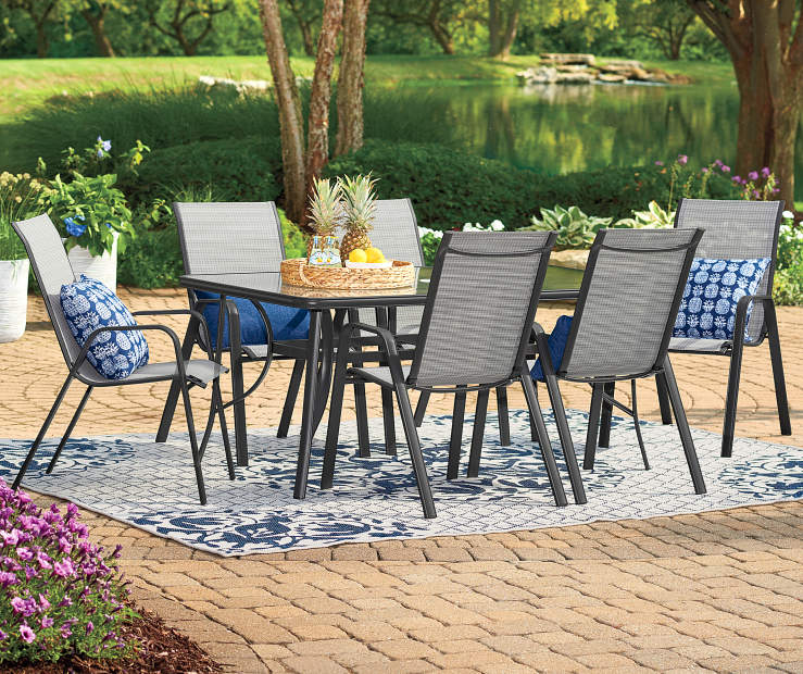Crowd The Family Or Your Friends Around A Lovely Meal Using These Wonderful Outdoor Dining Pieces Stackable Bwood Patio Chair Features Quick Drying