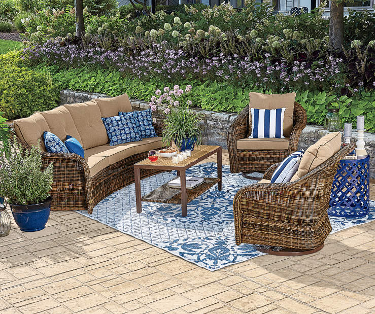Introduce stylized seating to an outdoor living space using this beautiful Palermo  furniture set from Wilson & Fisher. Modern deep seating with fully woven ... - Wilson & Fisher Palermo 4-Piece Seating Set Big Lots