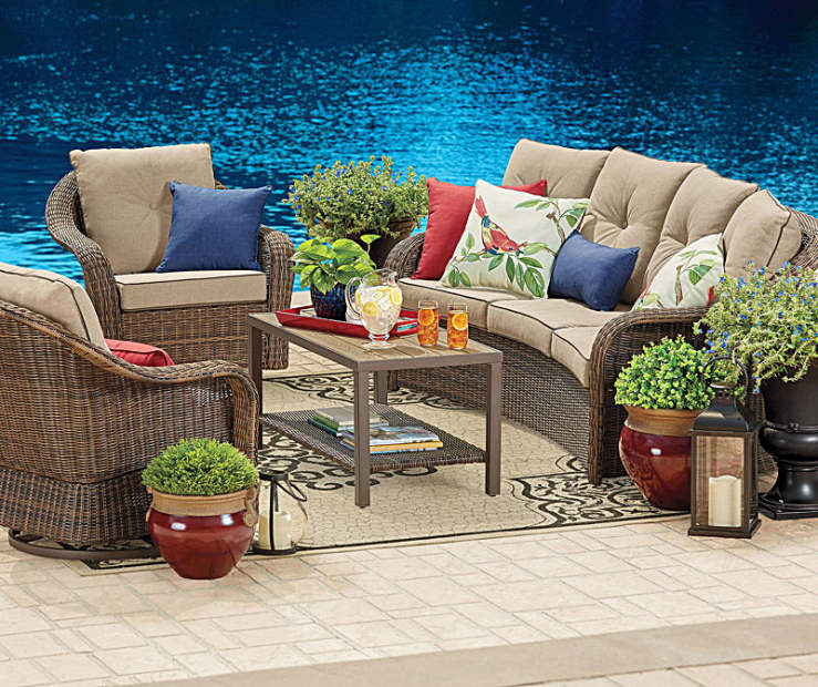 Adorn Your Outdoor Living E With The Wonderful Palermo Patio Set This Modern Curved Deep Cushion Features All Weather Resin Wicker And Is Ideal