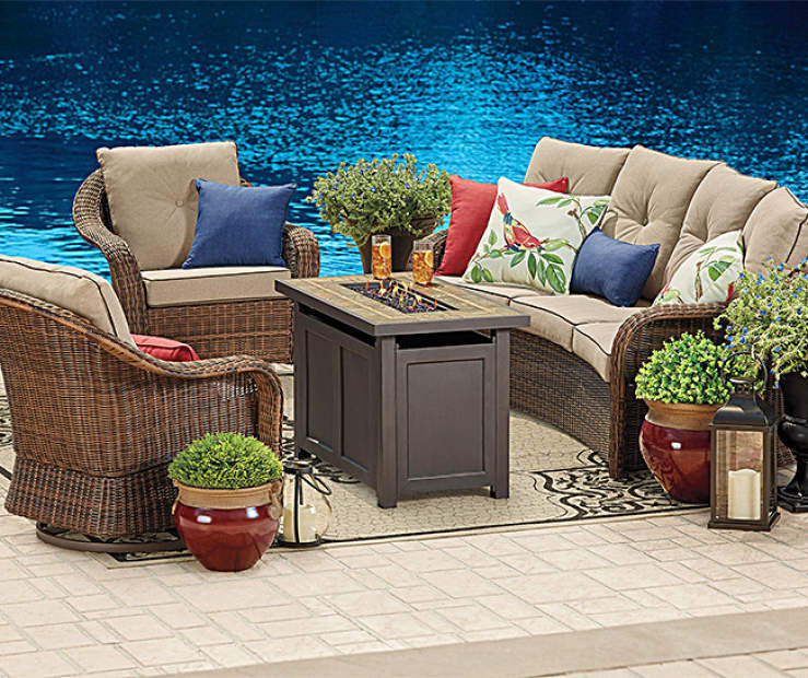 Wilson & Fisher Palermo Patio Furniture with Fire Pit ... on Outdoor Sectional Big Lots id=37943