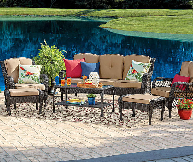 Create An Inviting Gathering Area With This Open Weave Resin Wicker Seating Set Use The Gl Top Coffee Table To Display Your Favorite Pieces Of Décor As