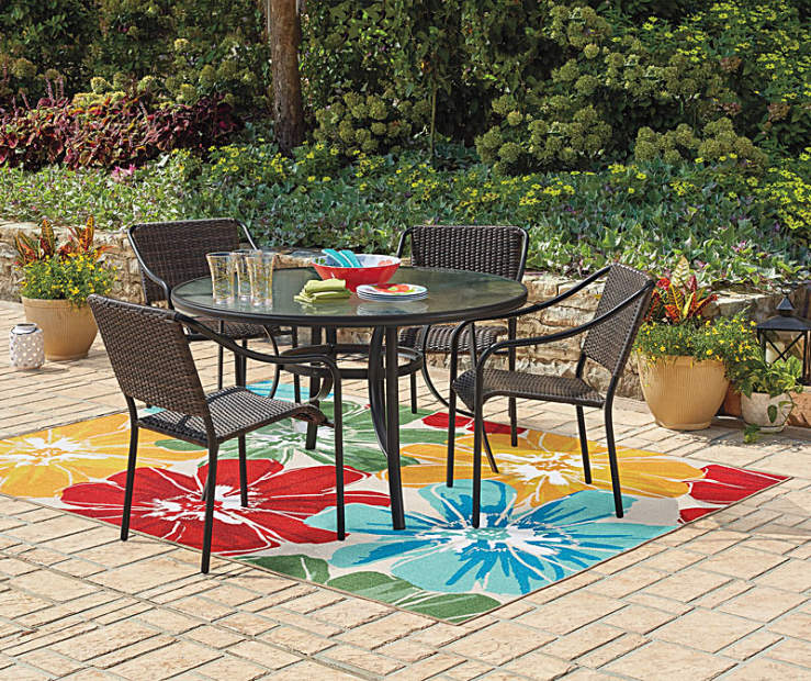 Wilson fisher resin wicker patio set big lots enjoy a relaxing moment with this wonderful patio set from wilson fisher featuring unique resin wicker stacking chairs and a round glass top table watchthetrailerfo