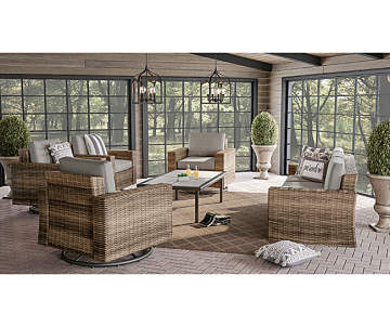Wilson Fisher Shadow Creek Large E Patio Sofa Glider Coffee Table Seating Set Gl