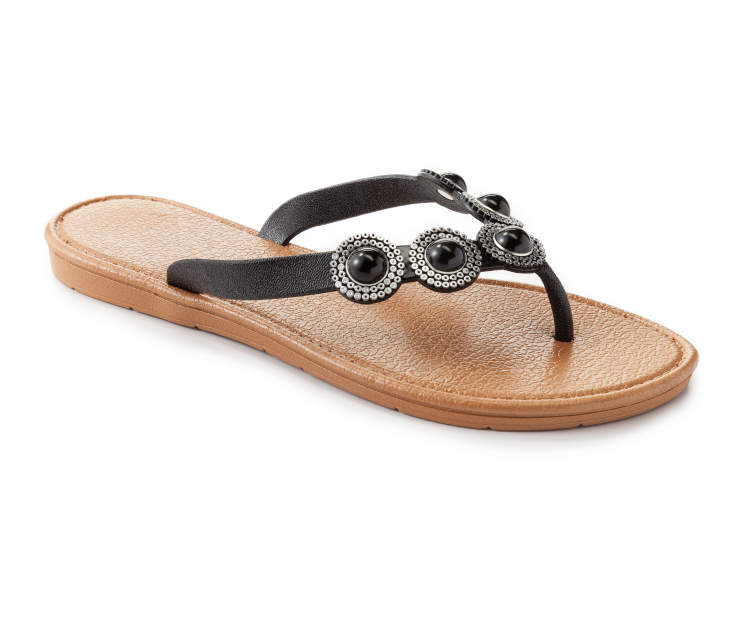 3c1781d24f41 Slide into the season with these stylish sandals! Studded with glossy black  stones