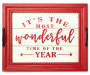Wonderful Time of the Year Red and White Wooden Tray Wall Decor silo front