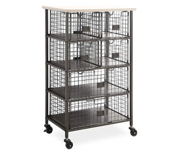 Stratford Wood Metal 6 Drawer Rolling Cart
