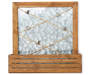 Wooden Galvanized Wall Decor with Photo Clips and Shelf Silo image Front View