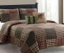 Woodlawn Plaid Tan and Sage 5 Piece Full/Queen Quilt Set bedroom setting